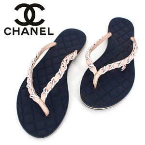 Chanel Quilted Chain Flat Thong Flip Flops 37